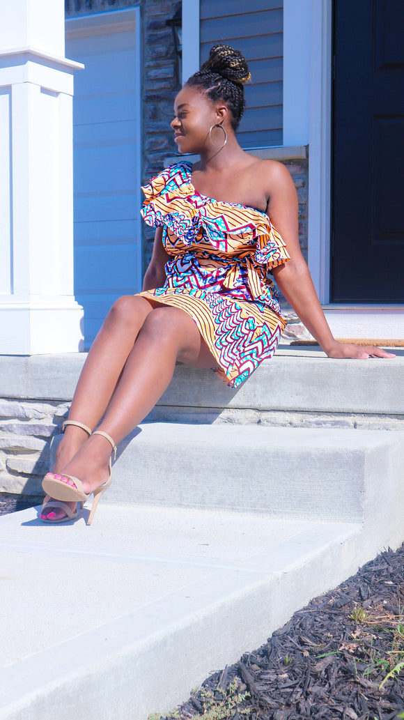 African Print Off Shoulder Dress (End of Season Clearance) - Nkeoma