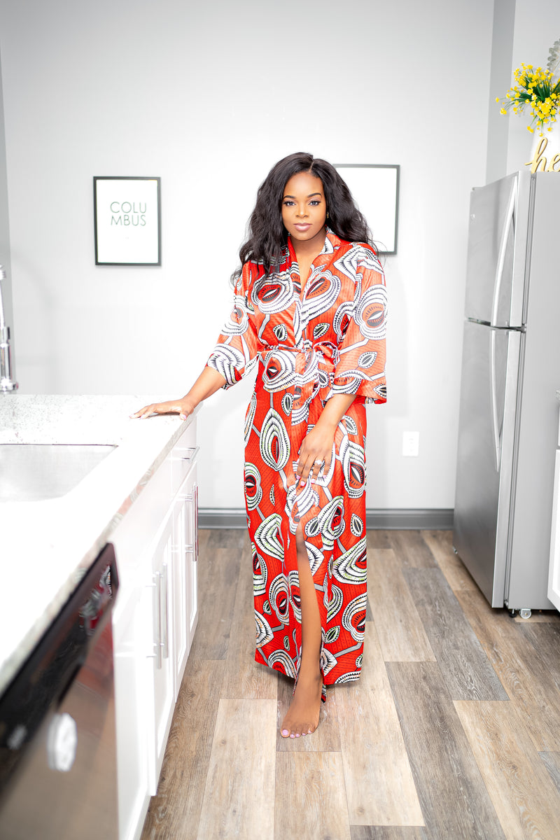 Long African Print Satin Robe - Nkeoma By Ivy & Livy