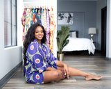 African Print Satin Robe Purple/Lime Green - Nkeoma