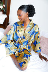 Blue/Yellow African Print Satin Robe - Nkeoma By Ivy & Livy