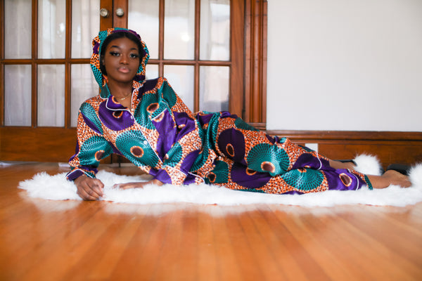African Print Satin Long sleeve Purple Pajama Set - Nkeoma By Ivy & Livy