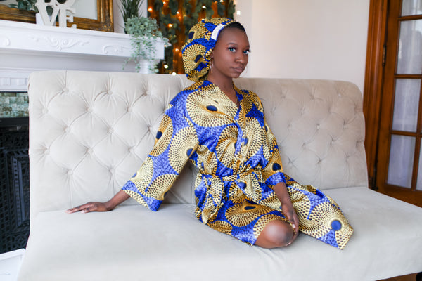 African Print Satin Robe Blue/Yellow - Nkeoma