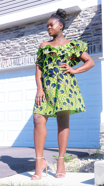 African Print Off Shoulder Dress - Nkeoma