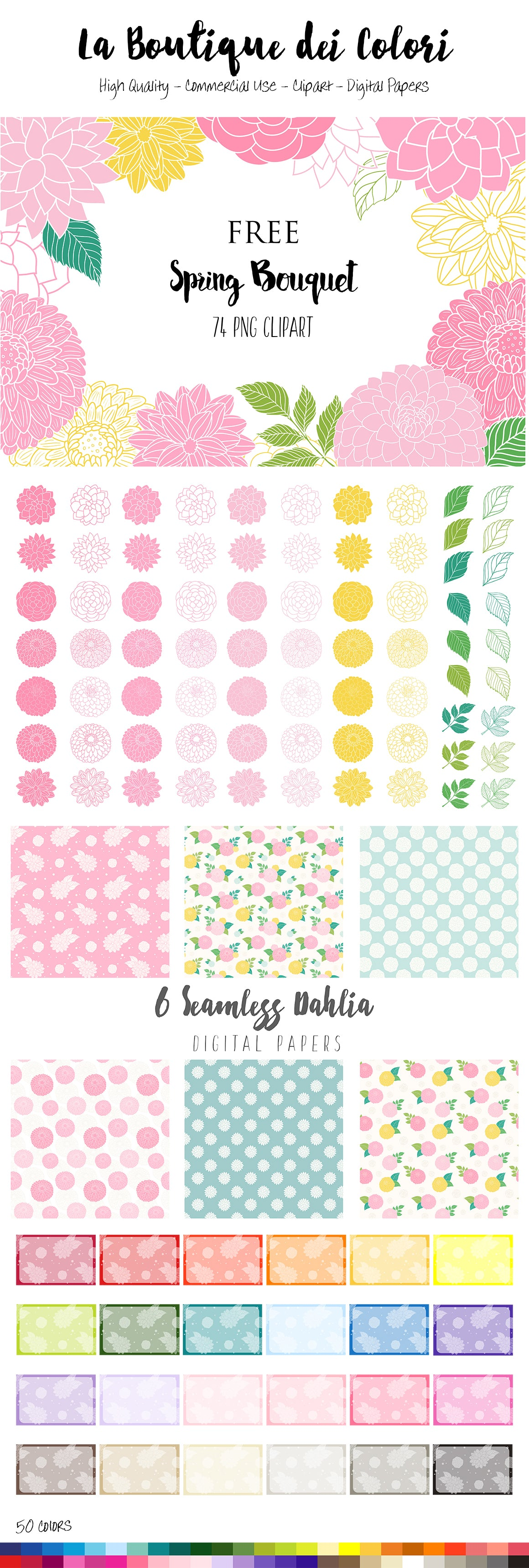 Free Dahlia Flowers Clipart and Seamless Patterns Preview