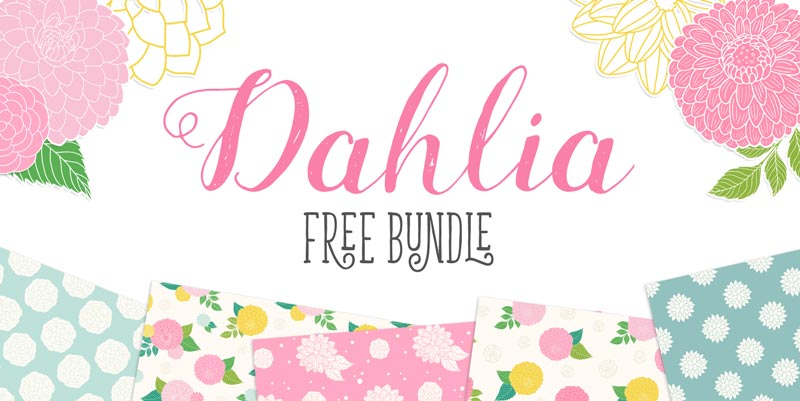 Free Dahlia Flowers Clipart and Seamless Patterns Pop-up Preview