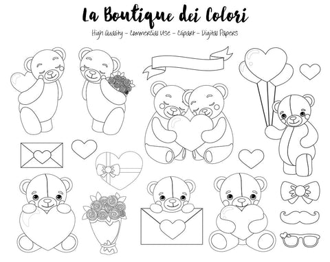 Valentine's Day Teddy Bears Digital Stamp Clipart