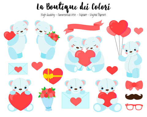 Blue Valentine's Day Teddy Bears Clipart