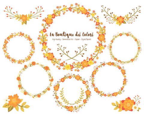 Autumn Flower Wreath Clipart