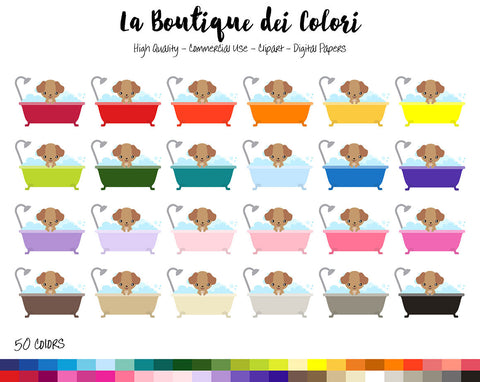 Dog Bath Planner Clipart