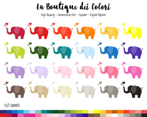 Colorful Elephant Planner Clipart