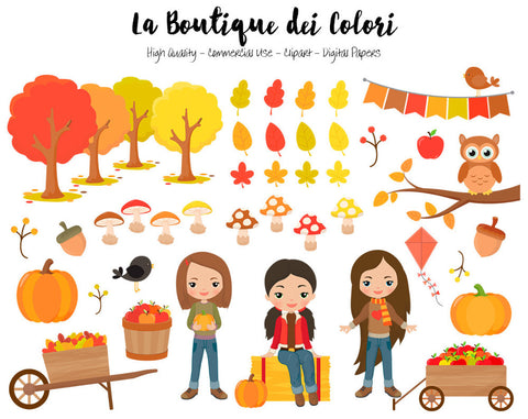 Autumn Ispanic Girls Clipart, Cute illustrations PNG, Fall leaves, pumpkin harvest, apple picking kids Clip art, Planner Stickers Commercial Use