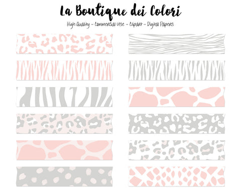 Pink and Gray Animal Print Washi Tape Clipart - La Boutique Dei Colori