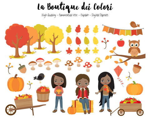 Autumn Girls Clipart, Cute illustrations PNG, Fall leaves, pumpkin harvest, apple picking kids Clip art, Planner Stickers Commercial Use