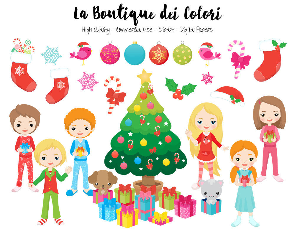 Kids Opening Christmas Gifts Clipart | La Boutique Dei Colori