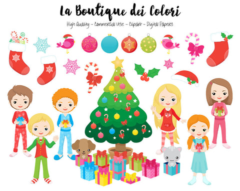 Kids Opening Christmas Gifts Clipart, cute digital graphics provided in PNG format. These are perfect for Personal and Small Business Commercial Use.