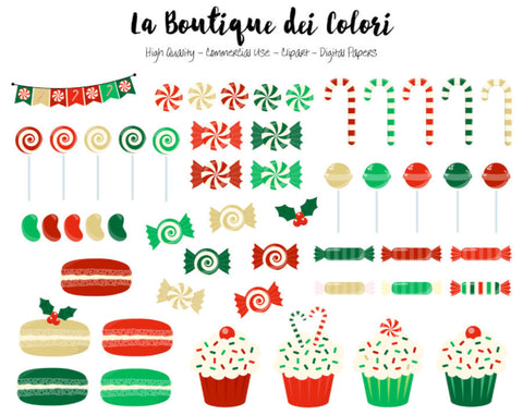 Christmas Candy Clipart, Cute Digital Graphics PNG, xmas sweets, cupcake, candy cane, lollipop Clip art, Planner Stickers Commercial Use