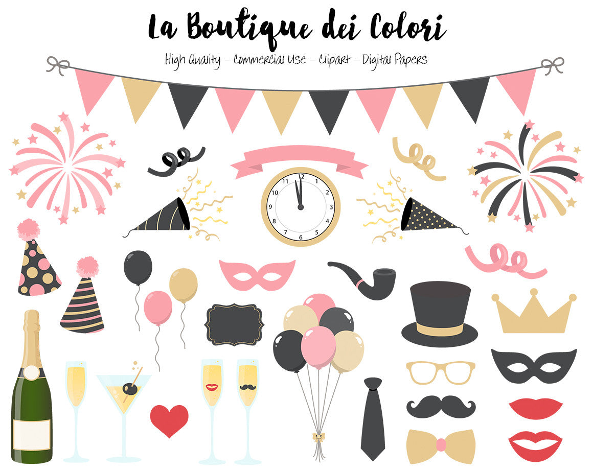 pink and gold new years clip art cute illustrations png new year party