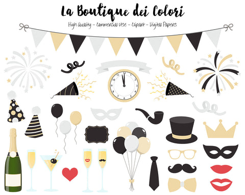 Silver and Gold New Years Clip art, Cute illustrations PNG, New Year, Party, Champagne, fireworks Planner Clip art, Commercial Use