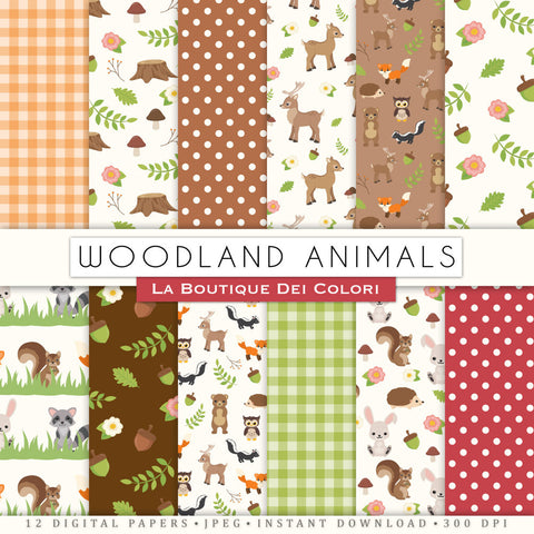 Woodland Animals Digital Paper