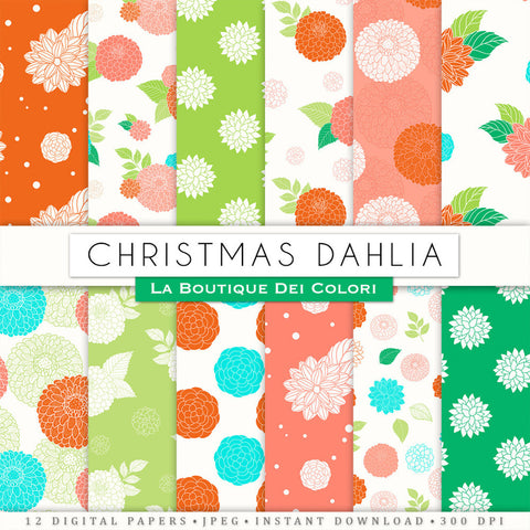 Christmas Dahlias Digital Paper - Peonies Flowers Scrapbook Papers Pack - Red and Green Floral Seamless Backgrounds Patterns