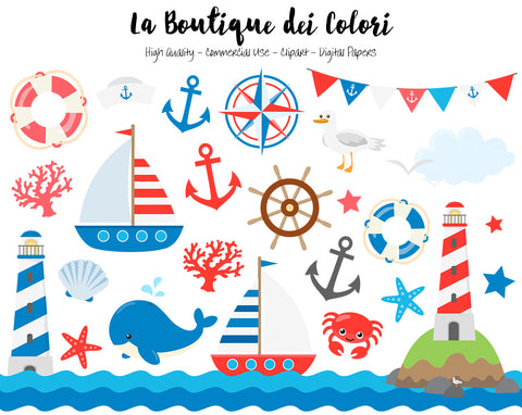 Classic Nautical Clipart, Cute Vector Graphics and PNG, Sea, Sailing, Ocean, Anchor, Lighthouse, Sailboat, Whale, Compass Clip art