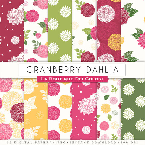 Cranberry Red Dahlia Seamless Digital Paper
