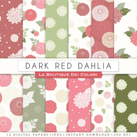 Dark Red Dahlia Seamless Digital Paper