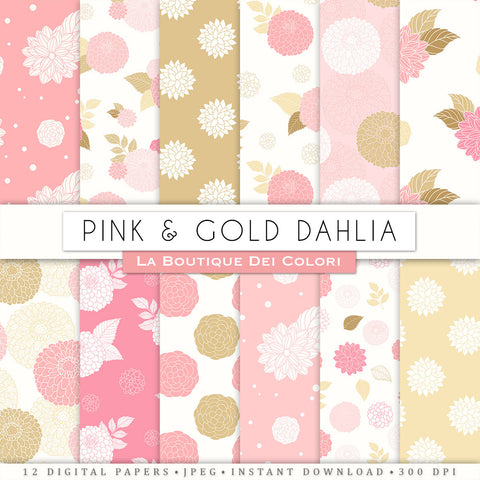 Pink and Gold Dahlia Seamless Digital Paper