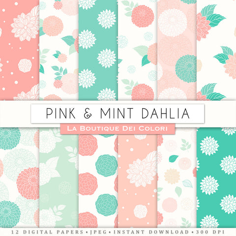 Pink and Mint Dahlia Seamless Digital Paper