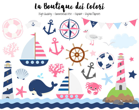 Pink and Navy Nautical Clipart, Cute Vector Graphics and PNG, Sea, Sailing, Ocean, Anchor, Lighthouse, Sailboat, Whale, Compass Clip art