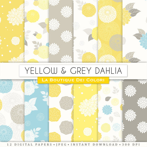 Yellow and Gray Dahlia Seamless Digital Paper