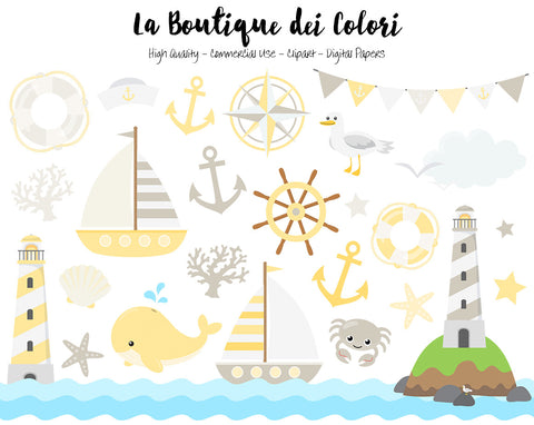 Yellow and Gray Nautical Clipart, Cute Vector Graphics and PNG, Sea, Sailing, Ocean, Anchor, Lighthouse, Sailboat, Whale, Compass Clip art