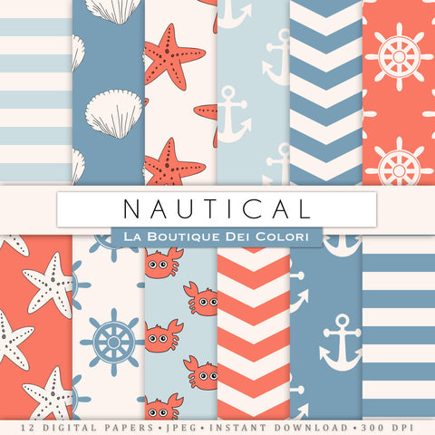 Nautical Party digital paper. Seal life navy and coral paper pack backgrounds patterns for commercial use clipart crab, anchor, star