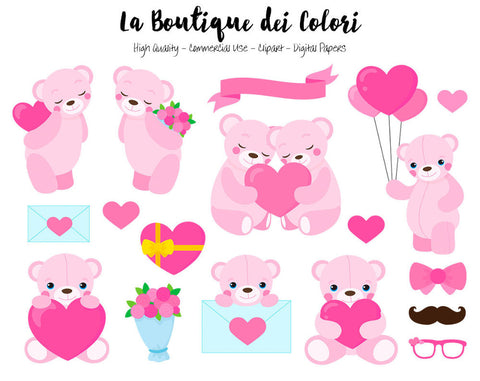 Pink Valentine's Day Teddy Bear Clipart, Cute Digital Graphics PNG and Vector EPS, Love Clip art, Heart, Flower Bouquet Clip Art