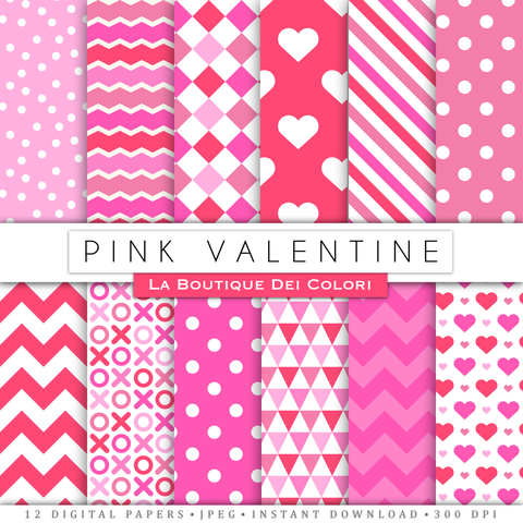 Pink Valentine's day digital paper. Hot Pink scrapbooking papers, romantic seamless patterns, background printables, Commercial Use