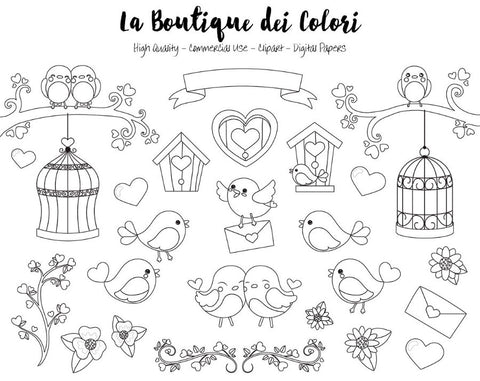 Valentine's Day Birds Digital Stamps Clipart