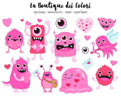 Pink Valentine's Day Monsters Clipart, Cute Digital Graphics PNG and Vector EPS, Fun Love Clip art, Cupid Hearts, Love letter Clip Art La Boutique dei Colori