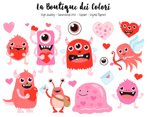 Red Valentine's Day Monster Clipart