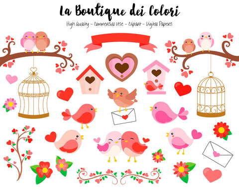 Red Valentine's Day Birds Clipart