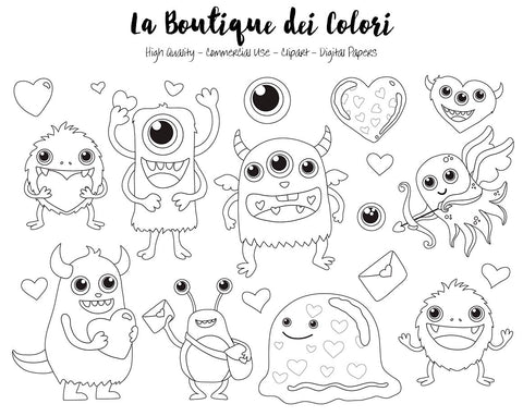 Valentine's Day Monster Digital Stamp Clipart