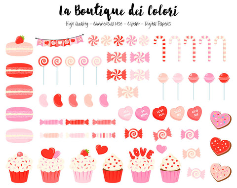 Red Valentine's Day Candy Clipart, Cute Graphics PNG, sweets, cupcake, candy cane, lollipop Clip art, Scrapbook illustrations Commercial Use