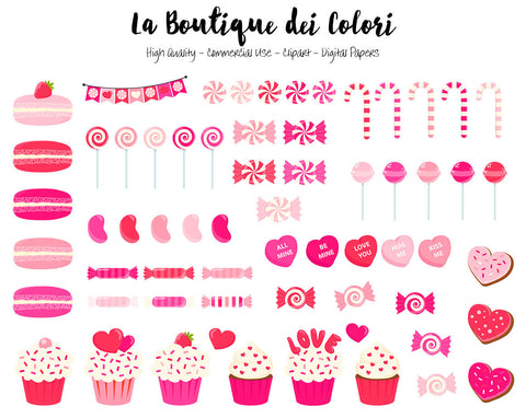 Pink Valentine's Day Candy Clipart, Cute Graphics PNG, sweets, cupcake, candy cane, lollipop Clip art Scrapbook illustrations Commercial Use
