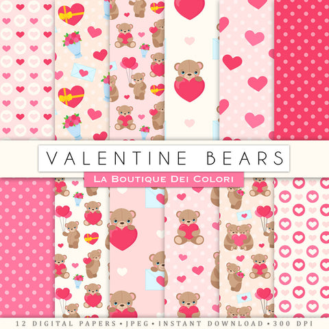 Valentine's day digital paper. Red and pink scrapbooking papers, romantic Teddy Bears seamless patterns, Cute love background printables