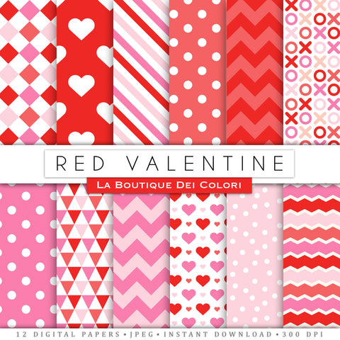 Red Valentine's day digital paper. Red and pink scrapbooking papers, romantic seamless patterns, background printables Commercial Use.