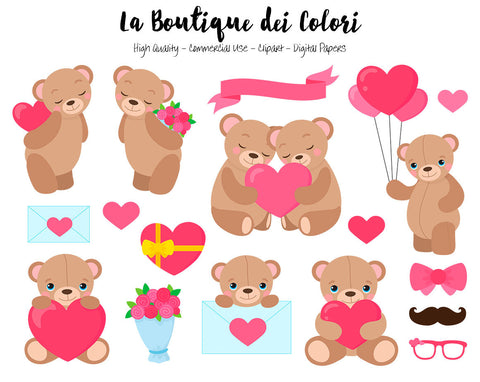 Valentine's Day Teddy Bears Clipart