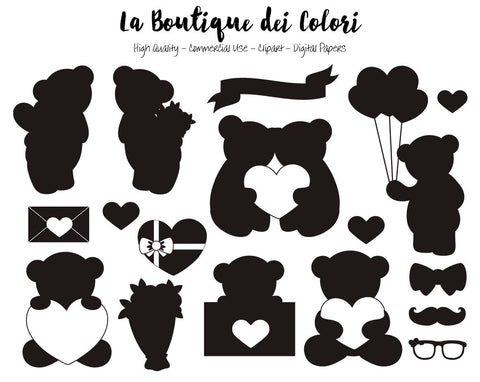Silhouette Valentine's Day Teddy Bears Clipart