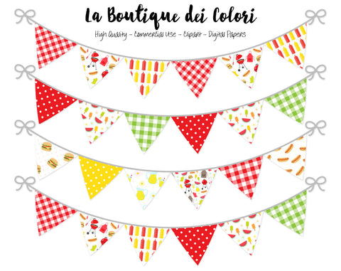 Barbecue Bunting Banner Clipart - La Boutique Dei Colori