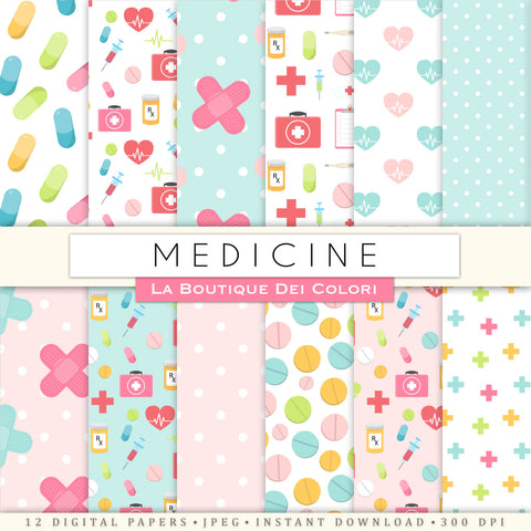 Medicine Digital Paper - La Boutique Dei Colori