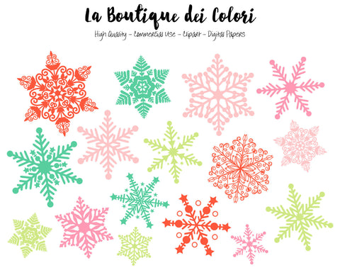 Christmas Snowflake Clipart - La Boutique Dei Colori