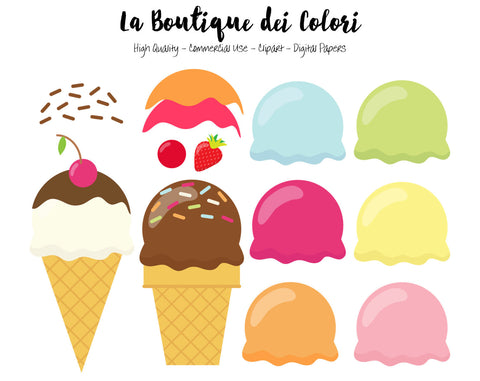 Ice Cream Clipart - La Boutique Dei Colori
